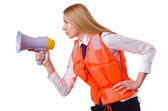 Young woman with vest and loudspeaker on white — Stock Photo