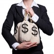 Woman with sacks of money on white - Stock Photo