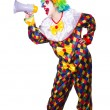 Clown with loudspeaker on white — Stock Photo #25889167