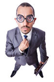 Funny nerd businessman isolated on white — Stock Photo