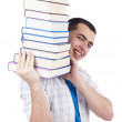 Royalty-Free Stock Photo: Student with lots of books on white