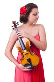 Young girl with violin on white — Stock Photo