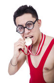 Funny wrestler with winners medal — Stock Photo