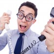 Crazy man with phone on white — Stock Photo