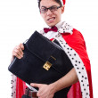 Stock Photo: King businessmisolated on white