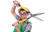 Funny man with shears on white — Stock Photo