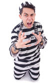 Funny convict isolated on the white — Stock Photo