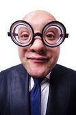 Funny man with glasses on white — Stock Photo