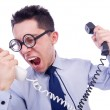 Stock Photo: Crazy mwith phone on white