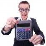 Nerd female accountant with calculator — Stock Photo #26788485
