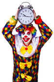 клоун с часами на белом — Стоковое фото