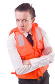 Young woman with life vest on white — Stock Photo