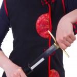 Japon savaş sanatı kavramı içinde kadın — Stok fotoğraf