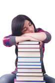 Girl student with books on white — Stock Photo