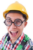 Funny construction worker isolated on white — Stock Photo