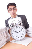 Woman businessman with giant alarm clock — Stock Photo