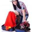 Woman with too much stuff in her case — Stock Photo