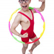 Funny sportsman with hula hoop on white — Stock Photo