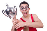 Funny wrestler with winners cup — Foto Stock