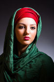 Muslim woman with headscarf in fashion concept — Stock Photo