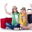 Pair of young students travelling — Stock Photo