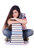 Young female student isolated on white — Stock Photo