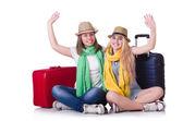 Para młodych studentów podróżujących — Zdjęcie stockowe