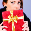 Young woman with red gift box — Stock Photo #2869591