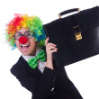 Stock Photo: Womclown businesswomisolated on white