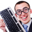 Stock Photo: Computer geek nerd in funny concept