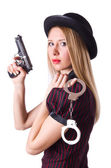 Woman gangster with gun and money — Stock Photo