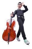 Funny man with violin on white — Stok fotoğraf