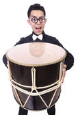 Funny man with drum on white — Stok fotoğraf
