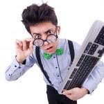 Computer geek nerd in funny concept — Stock Photo
