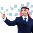Arab man pressing virtual buttons — Foto Stock