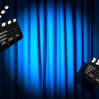 Movie clapper board against curtain — Stok fotoğraf