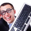 Computer geek nerd in funny concept — Stock Photo