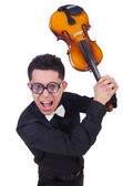 Funny violin player on white — Stock Photo