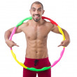 Man doing excecises with hula hoop — Foto Stock