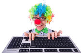 Funny guy with clown wig on white — Stockfoto