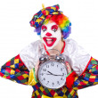 Clown with alarm clock isolated on white — Stock Photo #30466831