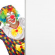 Clown with blank board on white — Stock Photo