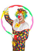 Clown with hula hoop isolated on white — Stock Photo