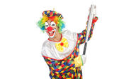 Clown with baseball bat isolated on white — Stock Photo