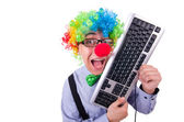 Funny guy with clown wig on white — Photo