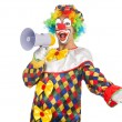 Clown with loudspeaker — Stock Photo