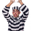 Badly bruised prisoner with handcuffs — Stock Photo #30887791