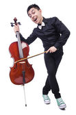 Funny man with violin — 图库照片