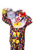 Clown with alarm clock — Stock Photo