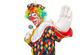 Clown with lollipop — Stock Photo